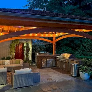 The Loreto Pavilion (Options: 14' x 14', Redwood, Post Anchor Kit for Gale-Wind, 1 Electrical Wiring Trim Kit, 2ft Overhangs by Custom Request, Transparent Premium Sealant). Photo Courtesy of B. Hirschbeck of Los Altos, CA.
