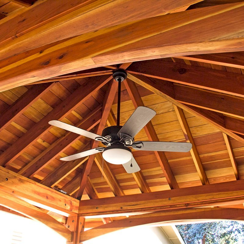 The Loreto Pavilion (Options: 14' x 14', California Redwood, Post Anchor Kit for Gale-Wind, 1 Electrical Wiring Trim Kit, 2ft Overhangs by Custom Request, Transparent Premium Sealant). Photo Courtesy of B. Hirschbeck of Los Altos, CA.