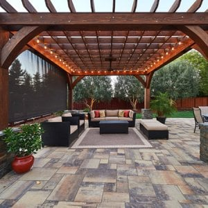 The Montvale Pergola (Options: 18' x 18', Redwood, Post Anchoring for Concrete, Electrical Wiring Trim Kit for 2 Posts, 1 Ceiling Fan Base, No Curtain Rods, No Privacy Panels, 10' Post, Transparent Premium Sealant). Photo Courtesy of M. Butler of Napa, CA.
