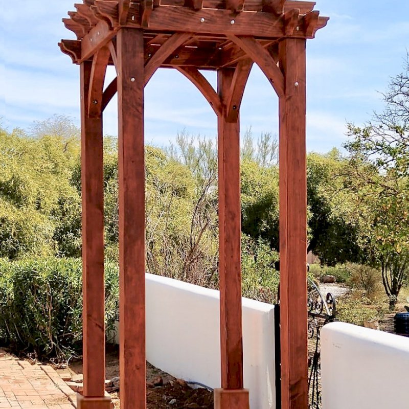 """The Montvale Pergola (Options: 4' x 6', Douglas-fir, Electrical Wiring Trim for 1 Post, Rafters at 16"""", Post Anchoring for Gale-Wind, No Ceiling Fan Base, No Privacy Panels, 10' Post, Transparent Premium Sealant). Photo courtesy of M. Simpson of Tucson, Arizona."""