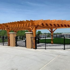 """Custom The Montvale Pergola (Options: 42'-6"""" x 22'-6"""", Douglas-fir, Post Anchoring for Concrete, 2 x 12 Rafters and Supports and 8 x 8 Post, Transparent Premium Sealant). Photo Courtesy of H. Hillebrand of Louisville, Kentucky."""