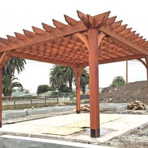 The Montvale Pergola (Options: 16' x 20', Mature Redwood, Post Anchoring for Concrete, No Ceiling Fan Base, No Curtain Rods, No Privacy Panels, 9.5' Post, Transparent Premium Sealant). Photos taken in Carpinteria Garden Park during construction, May 10, 2017. Photo Courtesy of Carpinteria Park, 5775 Carpinteria Avenue  Carpinteria, CA  93013.