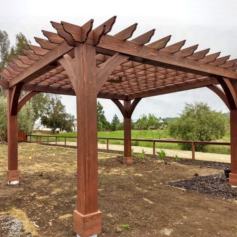The Montvale Pergola (Options: 18' x 18', California Redwood, Post Anchoring for Gale-Wind, 1 Ceiling Fan Base, No Curtain Rods, No Privacy Panels, 10' Post, Coffee-Stain Premium Sealant). Photo Courtesy of M. Butler of Napa, CA.