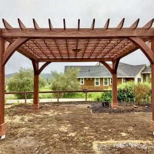 The Montvale Pergola (Options: 18' x 18', Redwood, Post Anchoring for Gale-Wind, 1 Ceiling Fan Base, No Curtain Rods, No Privacy Panels, 10' Post, Coffee-Stain Premium Sealant). Photo Courtesy of M. Butler of Napa, CA.
