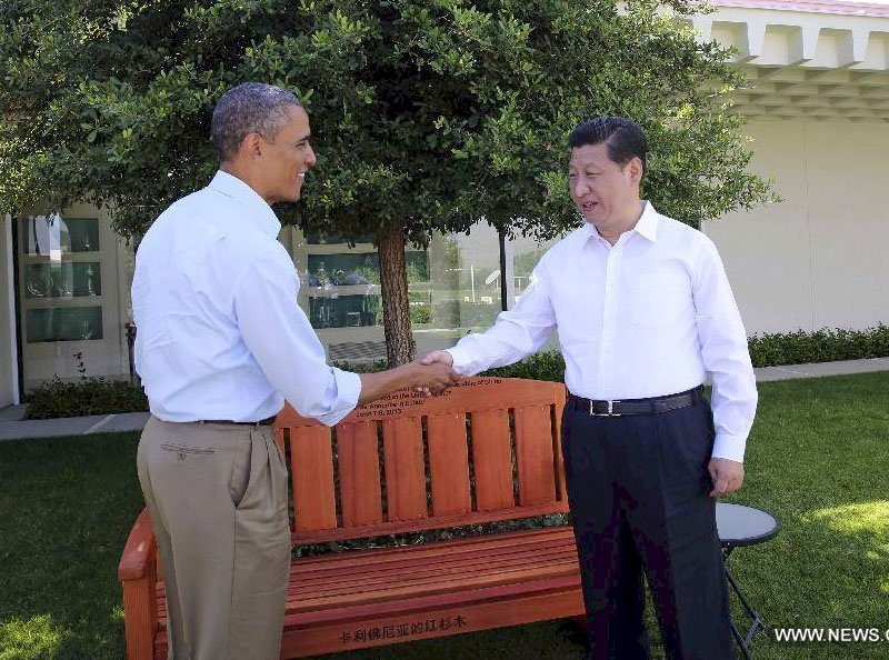 The Presidential Bench (Options: 5 ft, No Cushion, Custom Engraving). Photo shows President Obama and Chinese President Xi Jinping at Sunnysland Summit, Saturday June 8th. Find the full note at: http://english.cri.cn/11354/2013/06/09/2724s769296_1.htm