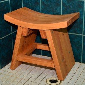 The Sanctuary Shower Bench (Options: Douglas-fir, No Engraving, Transparent Premium Sealant).