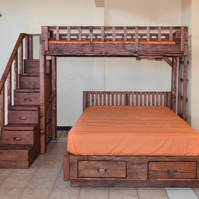 The Stairway Bunk Set (Options: Twin Top Bed, Queen Bottom Bed, Redwood, Stairway with Drawers on South and Ladder on North, Standard Headboard, Add 2 Drawers to Bottom Bed, Standard Safety Rails, Coffee-Stain Premium Sealant).