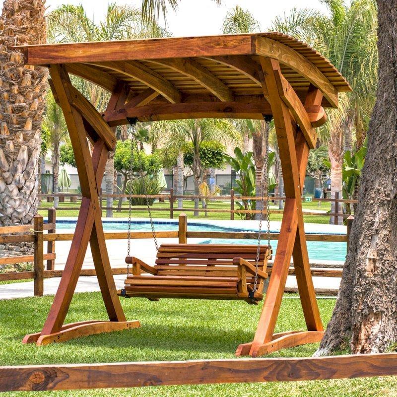 The Summerbreeze Swing Set (Options: Standard Bench, Redwood, Ensenada Seat Style, Transparent Premium Sealant).