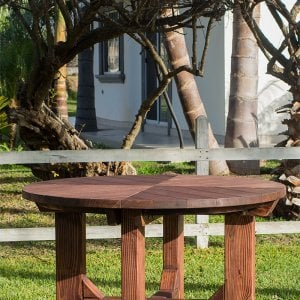 The Sunset Patio Table (Options: 4.5' Diameter, Table Alone, Douglas-Fir, Standard Tabletop, No Lazy Susan, No Umbrella Hole, Coffe Stain Premium Sealant).