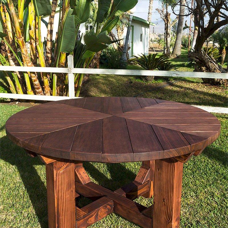 The Sunset Patio Table (Options: 4.5' Diameter, Table Alone, Douglas-Fir, Standard Tabletop, No Lazy Susan, No Umbrella Hole, Coffe Stain Premium Sealant).