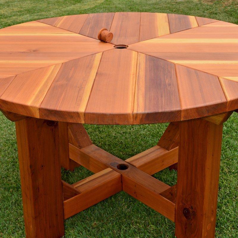 The Sunset Patio Table (Options: 4.5' Diameter, Table Alone, Redwood, Standard Tabletop, No Lazy Susan, Umbrella Hole, Transparent Premium Sealant).