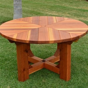The Sunset Patio Table (Options: 4.5' Diameter, Table Alone, Redwood, Standard Tabletop, No Lazy Susan, Umbrella Hole, Transparent Premium Sealant).