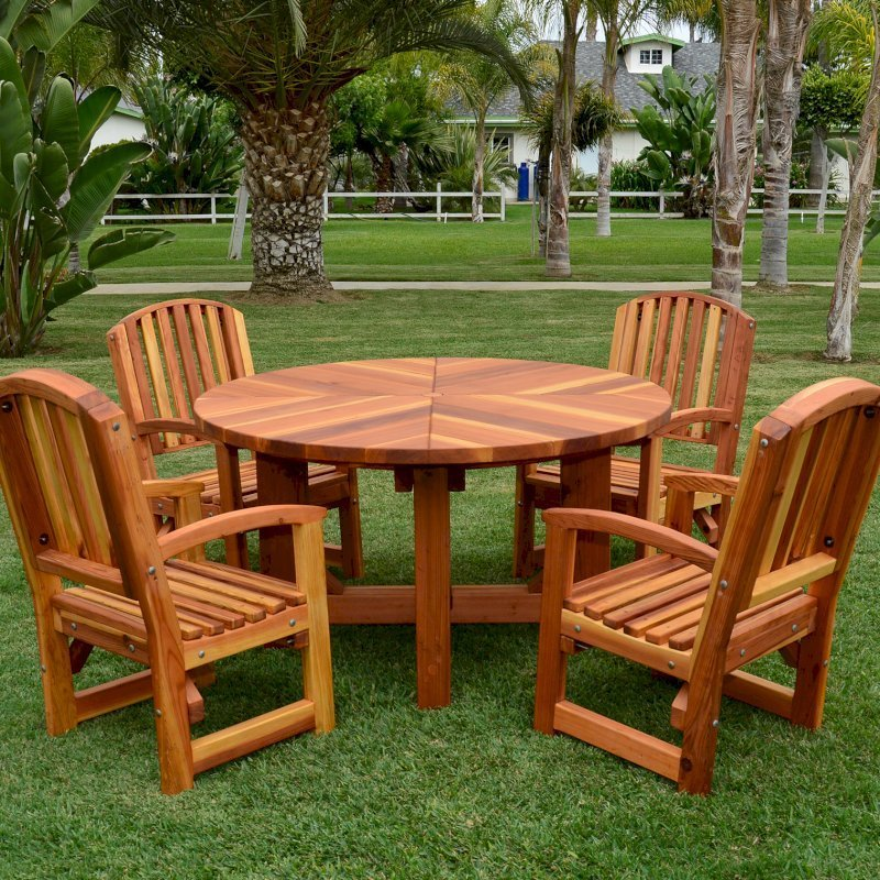The Sunset Patio Table (Options: 4.5' Diameter, 4 Legs, With Chairs, Redwood, 4 Ruth Armchairs, No Cushions, Standard Tabletop, No Lazy Susan, Umbrella Hole, Transparent Premium Sealant).