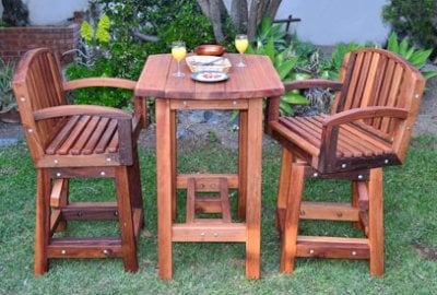 The Tete-a-Tete Outdoor Wood Cocktail & Bar Stool Set