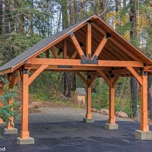 The Thick Timber Toledo Wood Pavilion  (Options: 28' L x 24' W, Douglas-fir, 6-Post Anchor Kit for Gale-Wind, No Electrical Wiring Trims, 10 x 10 Supports and Posts, 10 x 10 Rafters, No Fan Base, Transparent Premium Sealant). Photo Courtesy of M. Prosise of Napa, California.