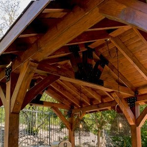 The Thick Timber Toledo Wood Pavilion  (Options: 22' L x 14' W, Douglas-fir, 6-Post Anchor Kit for Gale-Wind, Electrical Wiring Trim for 1 Post, 8 x 8 Supports and Posts, 8 x 8 Rafters, No Fan Bases, Coffee-Stain Premium Sealant). Photo Courtesy of M. Moffitt Jackson of Foothills Ranch, California.