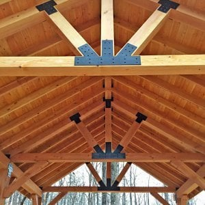 The Thick Timber Toledo Wood Pavilions (Options: 26' L x 20' W, Douglas-fir, 6-Post Anchor Kit for Gale-Wind, Electrical Wiring Trim for 3 Posts, 10 x 10 Supports and Posts, 8 x 8 Rafters, Transparent Premium Sealant). Photo Courtesy of M. Turner of Thaxton, MS.