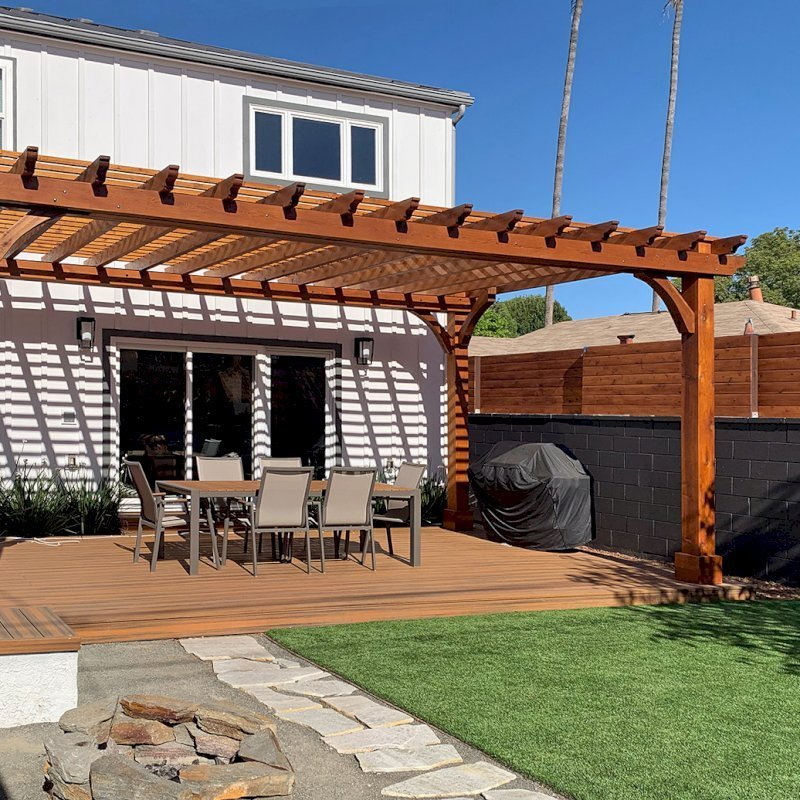 """Custom Thick Timber Garden Pergola Built in Western Red Cedar (Options: 23' L x 14' W, Open Roof with Slats at 12"""", Rafters at 18"""", 4-Post Anchor Kit for Wood, No Ceiling Fan Base, No Privacy Panels, No Post Decorative Trims, 2 Curtain Rod, Transparent Premium Sealant). Photo Courtesy of B. Barkman of Santa Monica, California."""