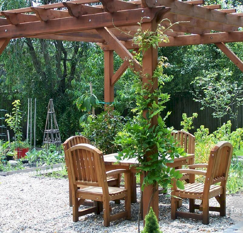 "The Traditional Wooden Garden Pergola (Options: 12' L x 12' W, Old-Growth Redwood, No Electrical Wiring Trim, Open Roof with Slats at 18"", Rafters at 18"", 4 Post Anchor Kit for Stone, No Ceiling Fan Base, No Privacy Panels, No Curtain Rods, 9' Post Height, Transparent Premium Sealant). 4 ft Square Patio Table Set with Luna Armchairs Under the Pergola. Photo Courtesy of Ms. Anne Eccles of Lexington, MA."