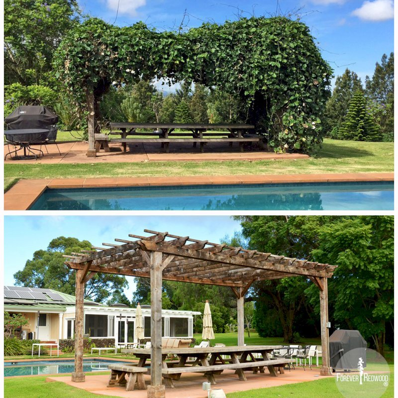 These photos are a typical example of Redwood's durability. The Pergola/Table set was installed in early 2008 and aggressive vines grew unimpeded until removed in late 2015. The finish took a beating from the vines and the light powerwashing, but the Redwood is fine after 8 years in Hawaii's moist and hot climate. Customer plans on refinishing in coming weeks. Pergola and Table Made in Old-Growth Redwood. Photo Courtesy of Mr. and Ms. Cole, Maui, HI.
