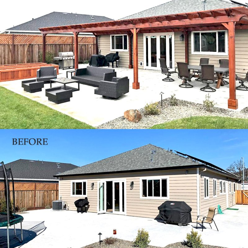 """Before - After Installation. The Traditional Wooden Garden Pergola (Options: 42' L x 16'-3 1/2"""" W, Old-Growth Redwood by Custom Request, No Electrical Wiring Trim, Open Roof with Slats at 6"""", Rafters at 18"""", 8-Post Anchor Kit for Concrete, No Ceiling Fan Base, No Privacy Panels, No Post Decorative Trims, No Curtain Rod, 10' Post Height, Transparent Premium Sealant). Photo Courtesy of D. Menzel of Santa Rosa, CA."""