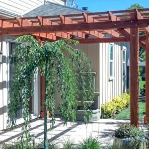 "The Traditional Wooden Garden Pergola (Options: 12' L x 12' W, Mature Redwood, Electrical Wiring Trim for 1 Post, Open Roof with Slats at 18"", Rafters at 18"", 4-post kit for Stone, Brick, or Concrete, No Ceilin Fan Base, No Privacy Panels, No Curtain Rods, 8.5' Post Height, Transparent Premium Sealant)."