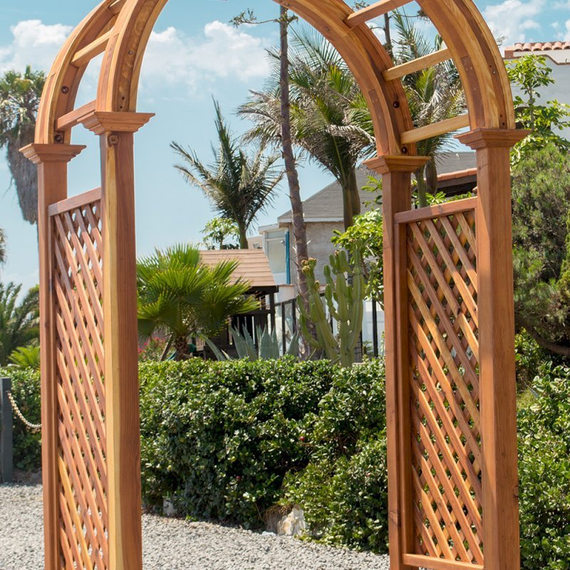 "The Versalles Arbor (Custom Options: 60"" W x 43"" D, Redwood, Transparent Premium Sealant)."