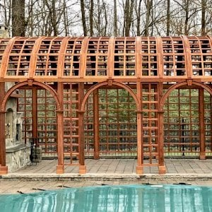 The Victorian Trellis (Options: 22' L x 14' W, Combination of Arcs and Lattice Panels, Mature Redwood, No Rain Guard, 9' Post Height, No Electrical Wiring Trim,  4-Post Anchor Kit for Stone, No Ceiling Fan Base, Transparent Premium Sealant).