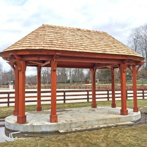 The Zoo Pavilion (Options: 14' x 25', Old-Growth Redwood, 8-Post Anchor Kit for Gale-Wind, Transparent Premium Sealant). Photo Courtesy of J. Brannon of Newtown, Connecticut.