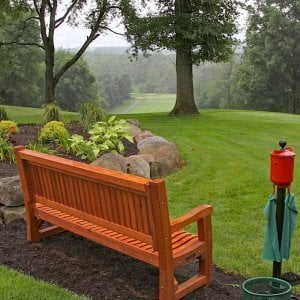 Tee at Mohican Hills Golf Club No. 12. Ti Amo Bench (Options: 6 ft, Mature Redwood, No Cushion, No Engraving, Custom Plaque Provided by Customer, Transparent Premium Sealant). Photo Courtesy of Fox Family.