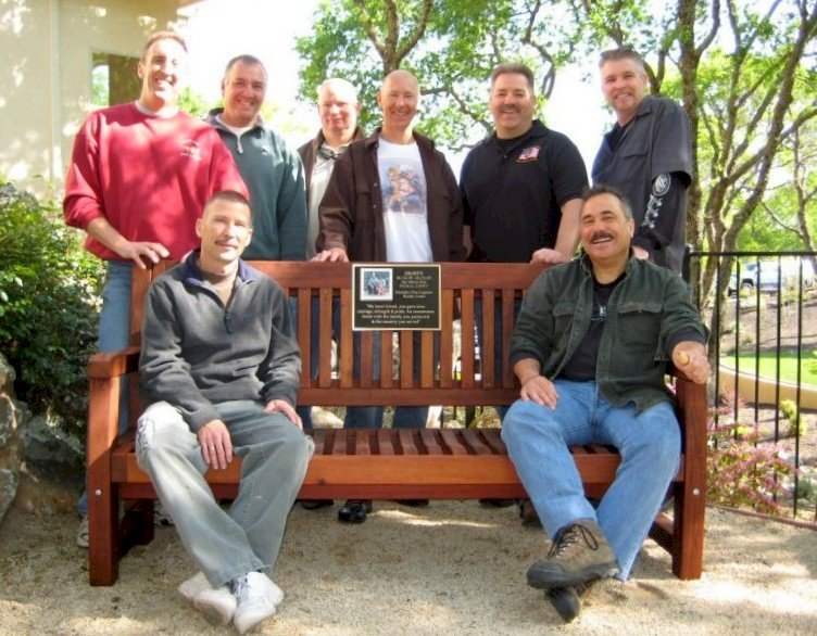 Ti Amo Bench (Options: 5 ft, Old-Growth Redwood, No Cushion, No Engraving, Custom Plaque Provided by Customer, Transparent Premium Sealant). Photo Courtesy of Windsor Fire Department, Windsor, CA.