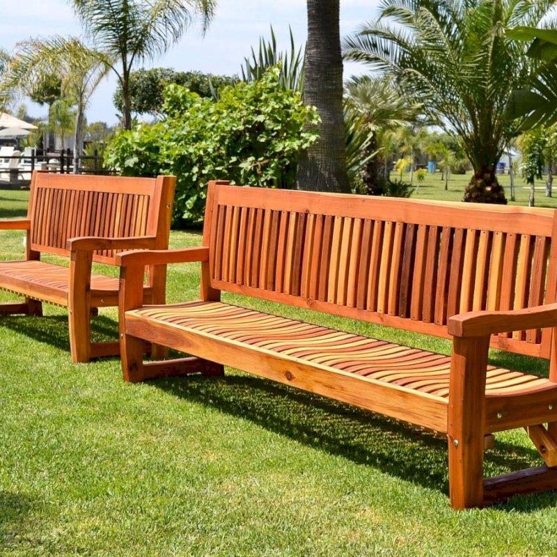Ti Amo Benches (Options: 6 ft and 8 ft, Redwood, No Cushion, No Engraving,  Transparent Premium Sealant).
