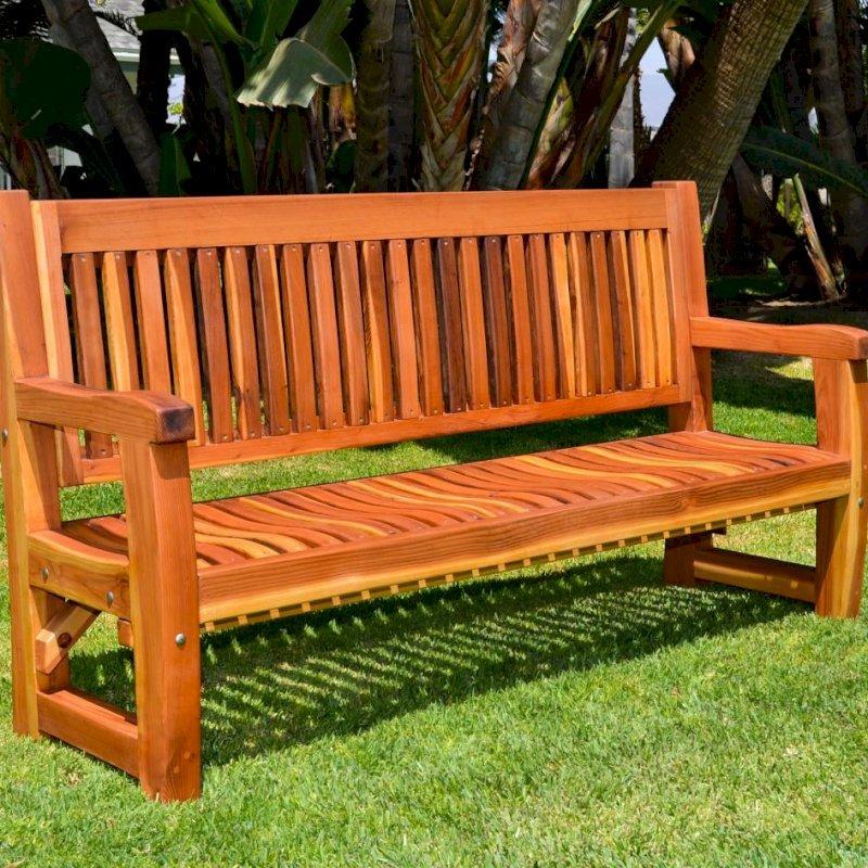 Ti Amo Bench (Options: 6 ft, Redwood, No Cushion, No Engraving, Transparent Premium Sealant).