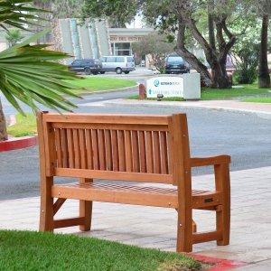 Ti Amo Bench (Options: 5 ft, Redwood, No Cushion, No Engraving, Transparent Premium Sealant). Photo Courtesy of The Estero Beach Resort of Ensenada, Baja, Mexico.