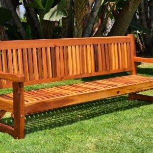 Ti Amo Bench (Options: 8 ft, Redwood, No Cushion, No Engraving, Transparent Premium Sealant).