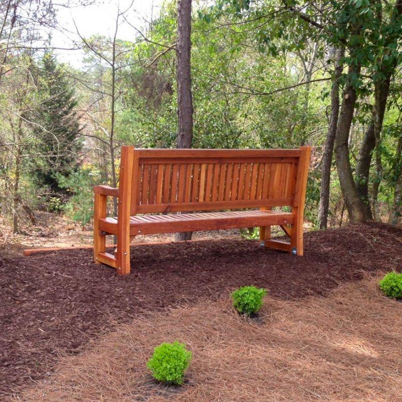 Ti Amo Bench (Options: 6 ft, Redwood, No Cushion, No Engraving, Transparent Premium Sealant). Photo Courtesy of Jeffrey Hill of Roswell, Georgia.