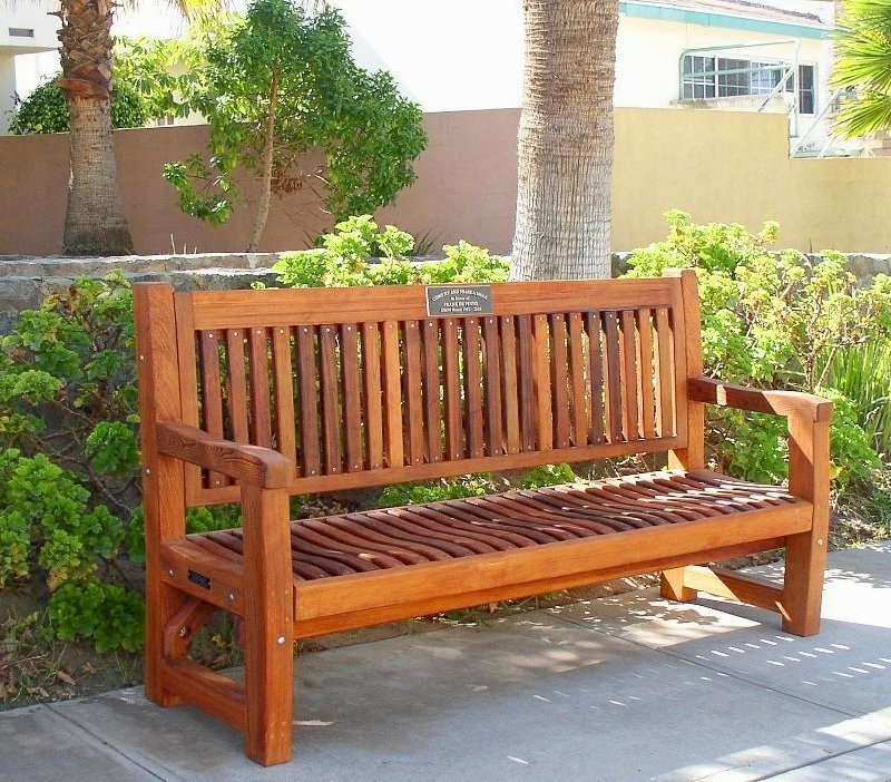 Ti Amo Bench (Options: 6 ft, Old-Growth Redwood, No Cushion, No Engraving, Custom Plaque Provided by Customer, Transparent Premium Sealant).