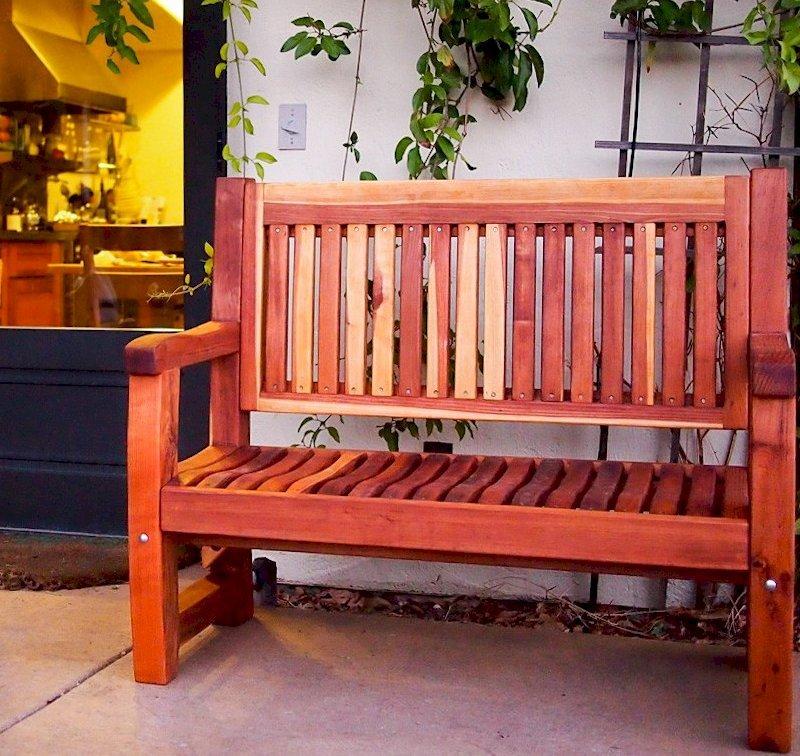 Ti Amo Bench (Options: 4 ft, Redwood, No Cushion, No Engraving, Transparent Premium Sealant). Photo Courtesy of Mr. Mike M. of Sunol, CA.