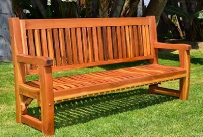 Outdoor Wooden Benches Handcrafted From Redwood Free Shipping