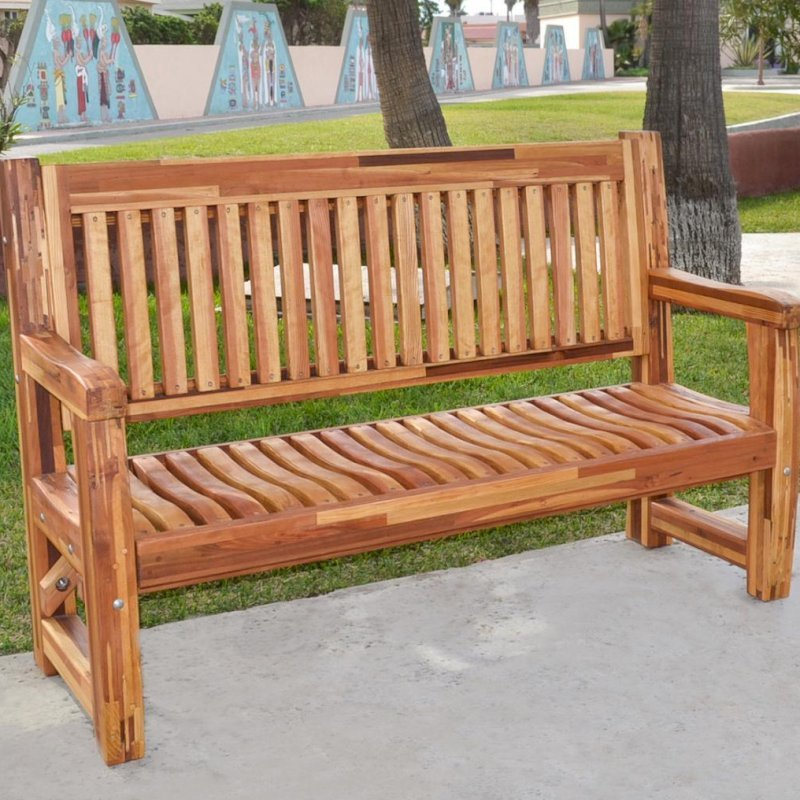 Ti Amo Memorial Bench (Options: 5 ft, Mosaic Eco-Wood, No Cushion, No Engraving, Transparent Premium Sealant). Custom detail - customer requested seat and backrest slats in Redwood.