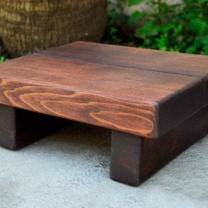"Tiny Foot Stool (Options: Old-Growth Redwood, 4 1/2 "" H, No Engraving, Coffee Stain)"