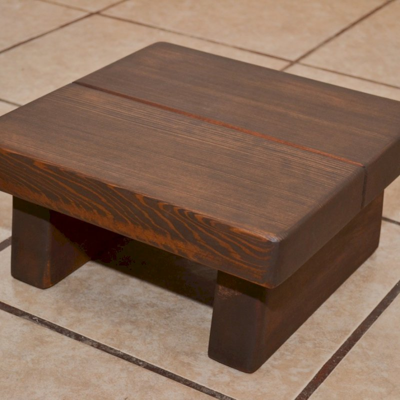 "Tiny Foot Stool (Options: Redwood, 5 3/4 "" H, No Engraving, Coffee-Stain Premium Sealant)."