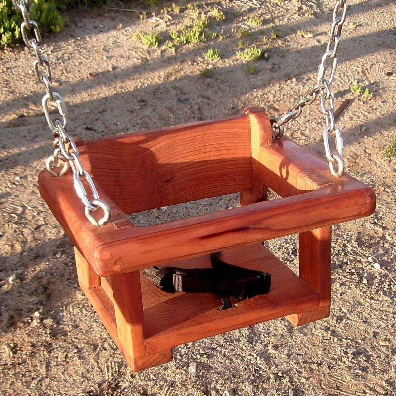 Toddler Swing Seat (Options: Mature Redwood, All Beam Hanging Hardware, Transparent Premium Sealant)