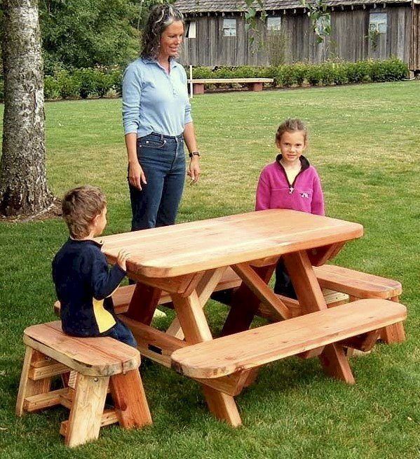 Toddler Rectangular Picnic Table (Options: Toddler's Size, Redwood, No Umbrella Hole, Standard Tabletop, Transparent Premium Sealant). Kids tables come standard with attached benches and rounded corners. 2 ft Picnic benches for ends purchased separately.
