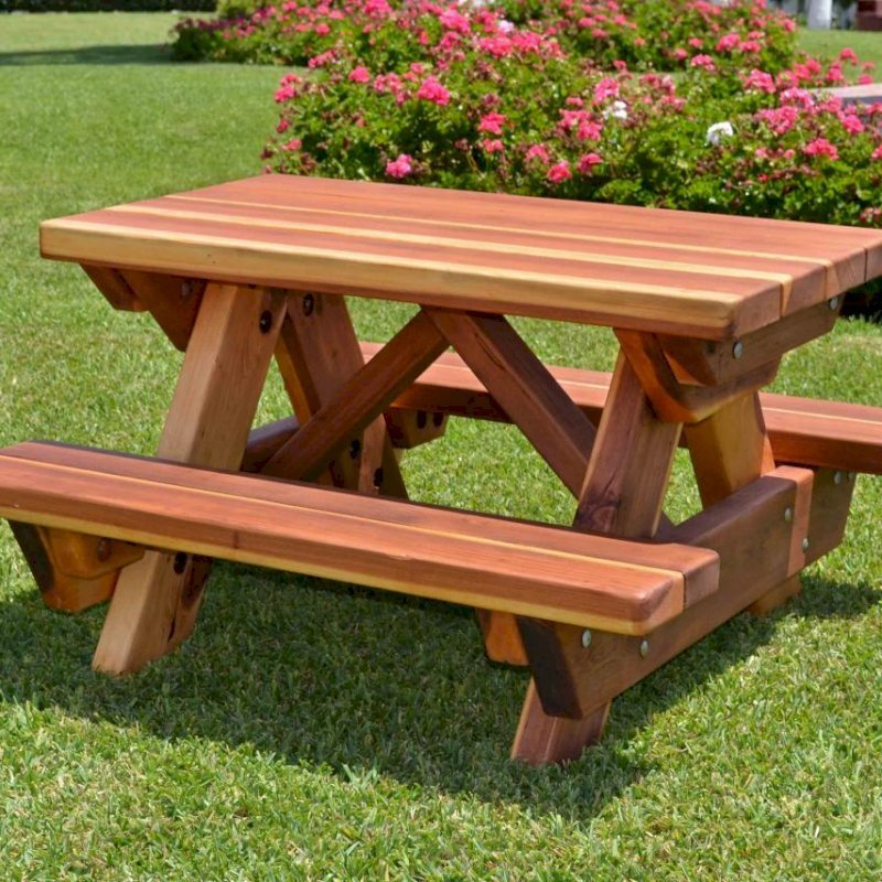 Toddler Rectangular Picnic Table (Options: Toddler's Size, Redwood, No Umbrella Hole, Standard Tabletop, Transparent Premium Sealant). Kids tables come standard with attached benches and rounded corners.