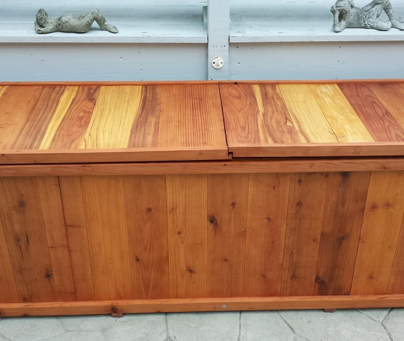 Traditional Storage Bench (Options: 96 L x 24 W x 27 H inches, Redwood, Split Seat, Add Pistons, No Engraving, Transparent Premium Sealant). Photo Courtesy of Jim Lefebvre of Danbury, Connecticut.