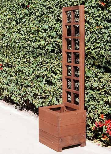 "Trellis for Planter (Options: 5' Tall Trellis Kit for Planters up to 36""L, Old-Growth Redwood, Transparent Premium Sealant) and Sonoma Planter 24""L x 24""W x 24""H."