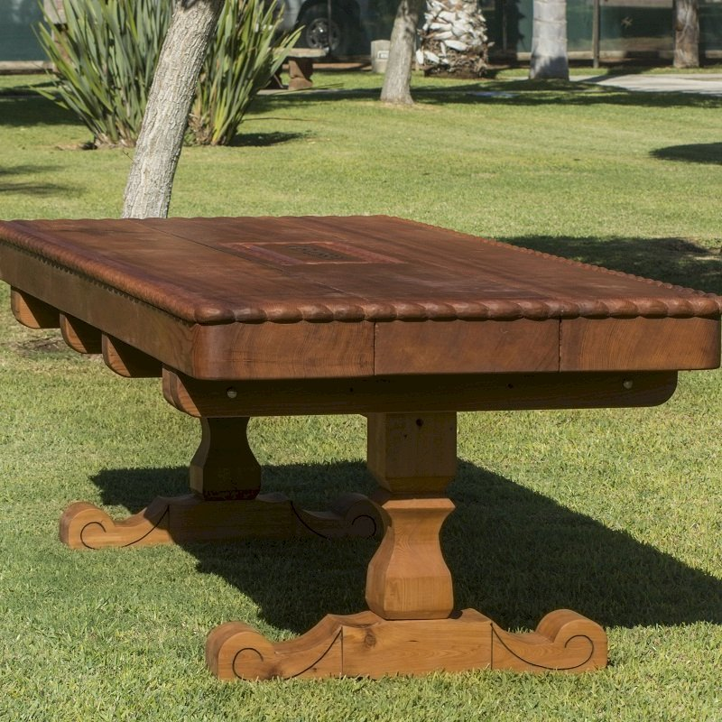 Trestle Bench (Custom designed trestle designed table in Old-Growth Redwood with massive timbers and custom carving and engraving.)