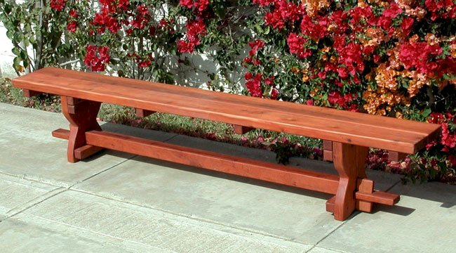 Trestle Bench (Options: 8' L, Mature Redwood, Transparent Premium Sealant).