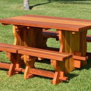 Trestle Table (Options: 5' L, 34 1/2'' W Tabletop, Side Benches, Redwood, Standard Tabletop, No Umbrella Hole, Slightly Rounded Corners, 2 Half Length Side Benches Per Side, Transparent Premium Sealant).